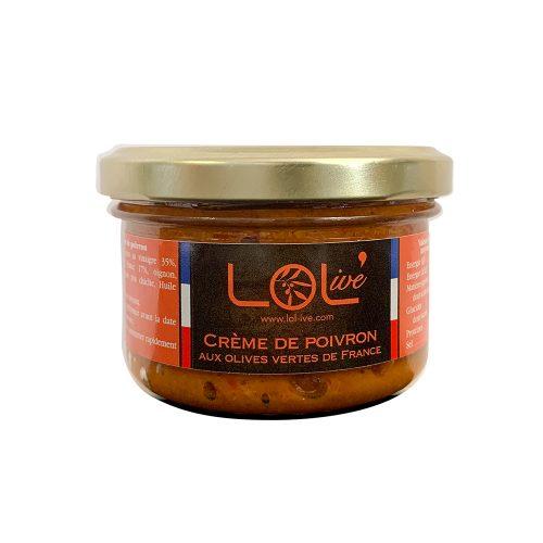 Crème de poivrons aux olives vertes