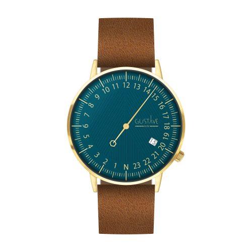 Montre 24H André Or & Bleu  - Bracelet Cuir Marron