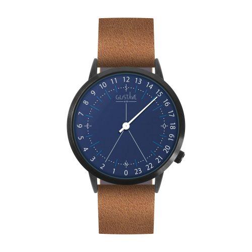 Montre 24H Antoine Bleue - Bracelet Cuir Marron