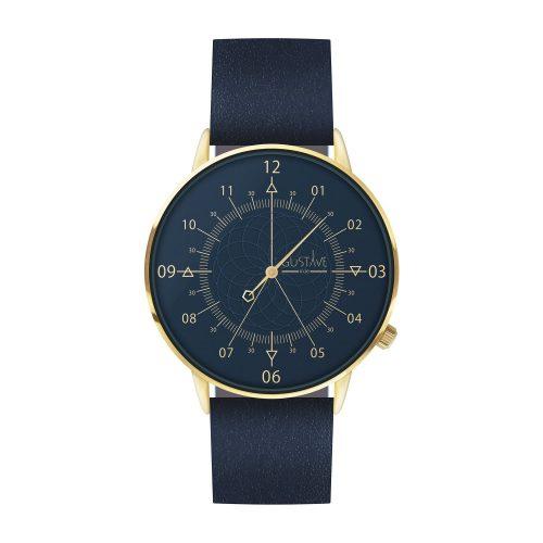Montre 12H Or & Bleu - Bracelet Cuir Bleu