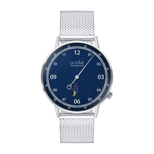 Montre 12H Georges Argent & Bleu - Bracelet Milanais Argent