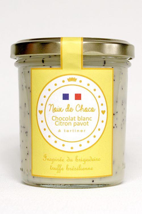 Pâte à tartiner chocolat blanc citron pavot