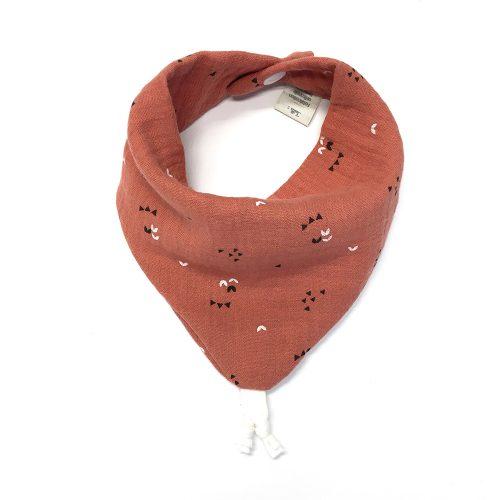 Bavoir bandana gaze de coton rose marsala