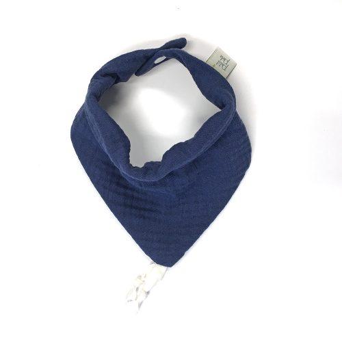 Bavoir bandana gaze de coton bleu indigo
