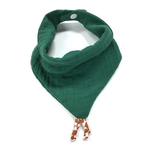 Bavoir bandana gaze de coton vert sapin