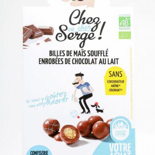 Billes de mais soufflé enrobées de chocolat au lait BIO
