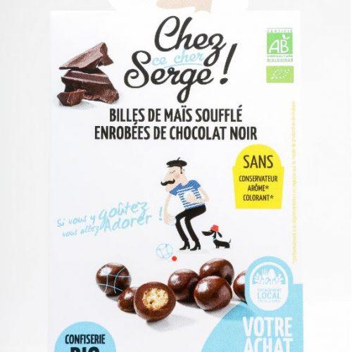 Billes de mais soufflé enrobées de chocolat noir BIO