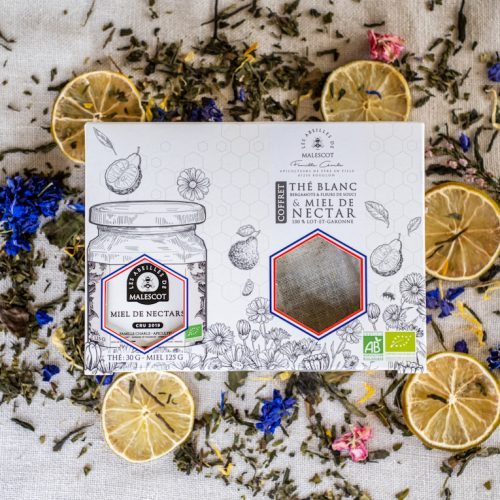 Coffret Thé Blanc Bergamote et Fleurs de Souci (20 Mousselines) et son Miel de Nectars