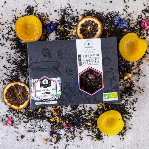 Coffret Thé Noir Abricot et Fleurs d'Oranger (Vrac) et son Miel de Nectars