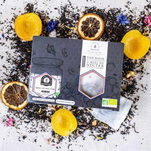 Coffret Thé Noir Abricot et Fleurs d'Oranger (20 Mousselines) et son Miel de Nectars