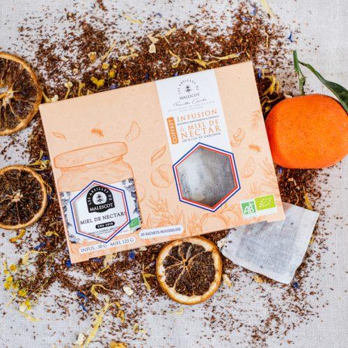Coffret Infusion Rooibos Mandarine et Orange (20 Mousselines) et son Miel de Nectars