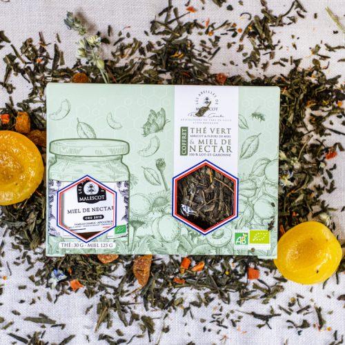 Coffret Thé Vert Abricot et Fleurs de Miel (Vrac) et son Miel de Nectars