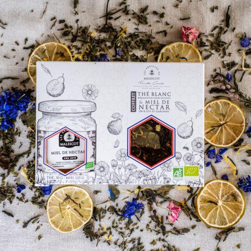Coffret Thé Blanc Bergamote et Fleurs de Souci (Vrac) et son Miel de Nectars